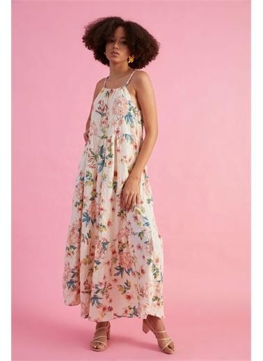 Z Giyim Kadın  Çağla  Çiçek Desenli Askılı Elbise Krem